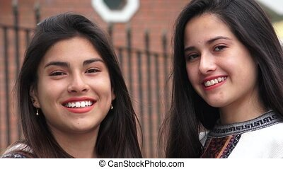 Smiling Hispanic Latina Teen Girls
