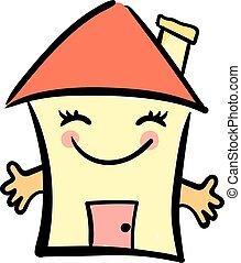 Smiling home, illustration, vector on white background.