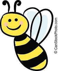 smiling honeybee vector or color illustration