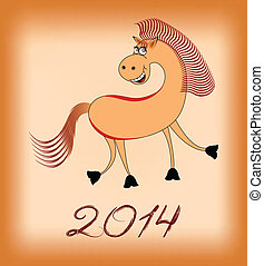 smiling  horse in 2014 on a beige b