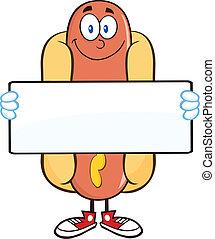 Smiling Hot Dog Holding A Banner - Smiling Hot Dog Cartoon...