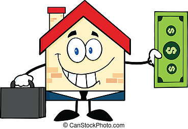 Smiling House Showing A Dollar Bill