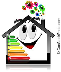 Smiling House with Energy Efficiency Rating