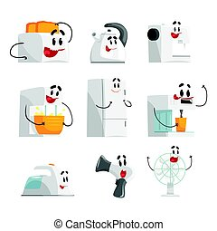 Smiling household appliances set for label design. Home electrical equipment as cartoon characters. Colorful detailed vector Illustrations