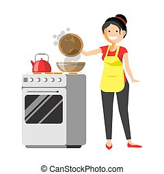 Smiling housewife standing near cooker prepares dishes...