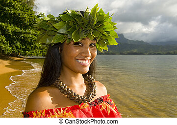 smiling hula girl - portrait of Hawaiian teenage girl...