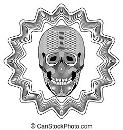 Smiling human skull on star shape background, black and white drawing with hatched and patterned parts. Tattoo template
