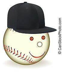 smiling in a black baseball cap