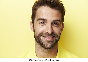 Smiling in yellow