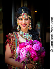 Smiling Indian Bride with Bouquet - Image of a smiling...