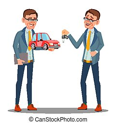 Smiling Insurance Agent Holding A Car In Hand Vector. Isolated Illustration