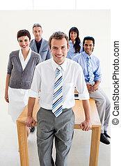 Smiling international business team