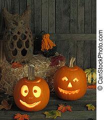 Smiling Jack-o-lanterns