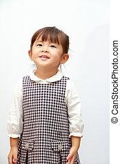 smiling Japanese girl (3 years old) (white back)