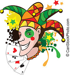 Smiling joker with cards and stars vector illustration