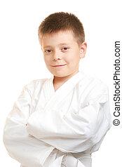 Smiling karate boy
