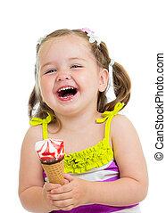 smiling kid girl eating ice cream isolated