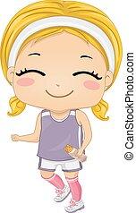 Smiling Kid Girl Jogging Water Bottle
