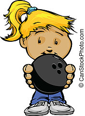 Smiling Kid holding Bowling Ball Vector Cartoon Illustration