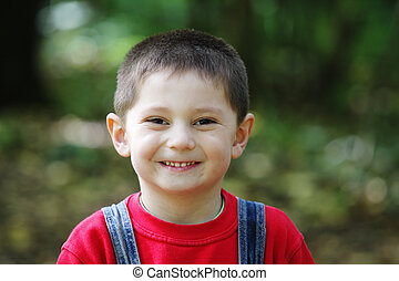 Smiling kid in red