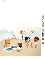Smiling kids doing different tasks at primary school. Boys and girls building pyramid out of pink blocks and viewing world map. Montessori environment concept. Vector illustration for poster, banner
