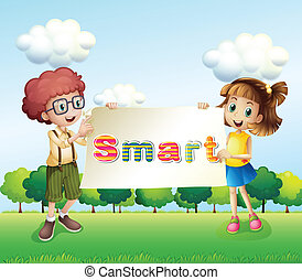 Smiling kids holding a signboard