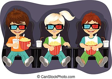 Smiling kids with popcorn watching 3D movie