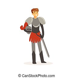 Smiling knight standing with sword, European medieval character colorful vector Illustration