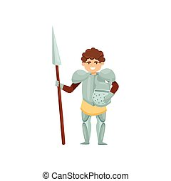 Smiling knight with spear and helmet in hands. Royal warrior in metal armor. Brave medieval soldier. Flat vector design