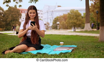 smiling lady use app for call