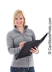 Smiling lady writing in a large folder