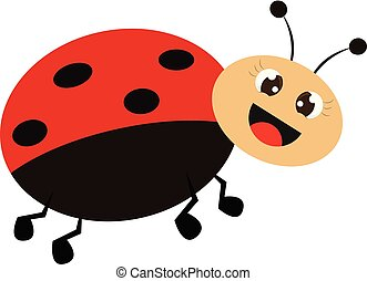 Smiling ladybug vector or color illustration