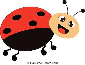 Smiling ladybug vector or color illustration