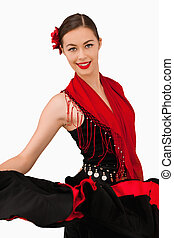 Smiling latin american dancer against a white background