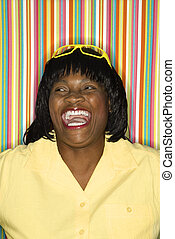 Smiling laughing woman.