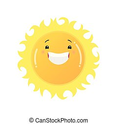 c343c04a7 Smiling laughing yellow sun emoji sticker isolated on white background