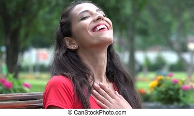 Smiling Laughing Young Hispanic Woman