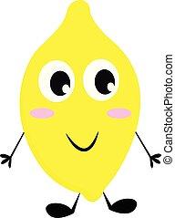 Smiling lemon vector or color illustration