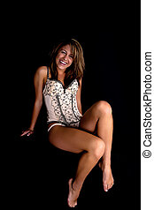 Smiling Ligerie Model - Smiling Lingertie Model