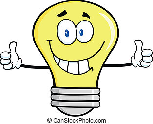 Smiling Light Bulb Character