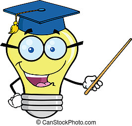 Smiling Light Bulb Teacher Character With A Pointer