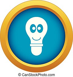 Smiling light bulb with eyes icon blue vector isolated