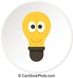Smiling light bulb with eyes icon circle