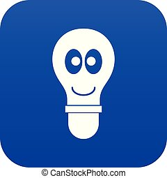 Smiling light bulb with eyes icon digital blue