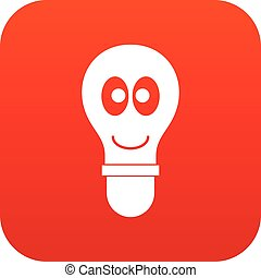 Smiling light bulb with eyes icon digital red