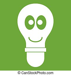 Smiling light bulb with eyes icon green