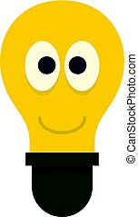 Smiling light bulb with eyes icon isolated