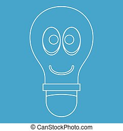 Smiling light bulb with eyes icon outline