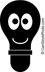 Smiling light bulb with eyes icon simple