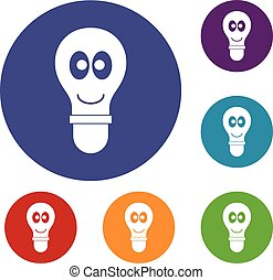 Smiling light bulb with eyes icons set